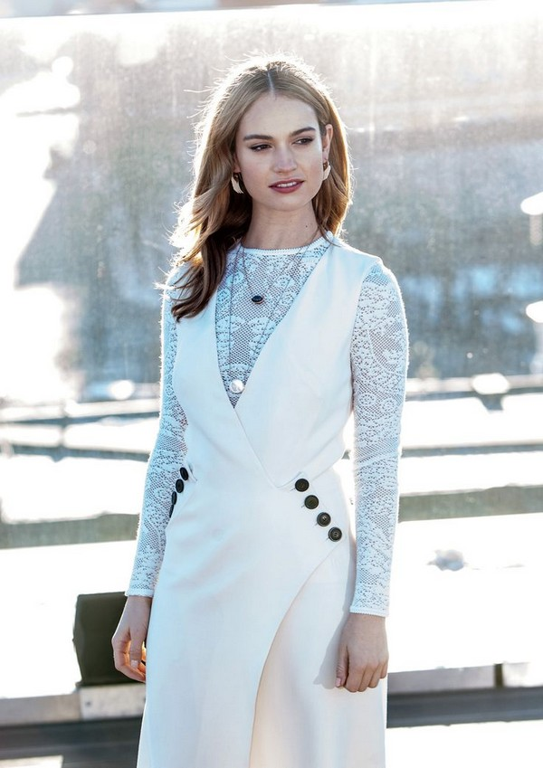 Lily James Photocall of Cinderella held in Moscow, Russia