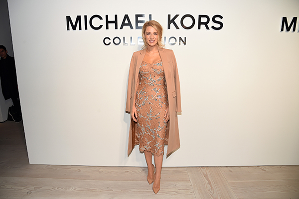 NEW YORK, NY - FEBRUARY 17: Actress Blake Lively poses backstage at the Michael Kors Fall 2016 Runway Show during New York Fashion Week: The Shows at Spring Studios on February 17, 2016 in New York City. (Photo by Nicholas Hunt/Getty Images for Michael Kors)